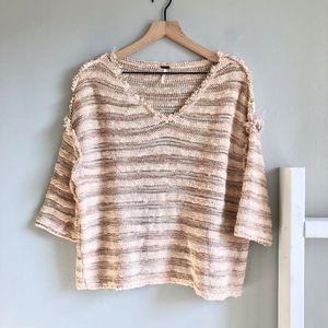 Free People Raw Hem Knit Striped Sweater Size XS
